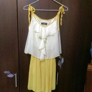(2手微瑕疵)亮黃細肩帶雪紡 洋裝