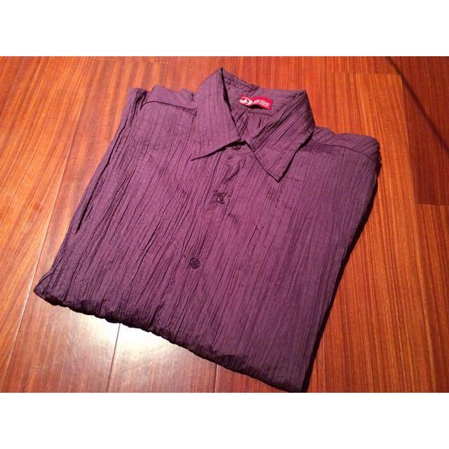 暗紫抓皺長袖襯衫