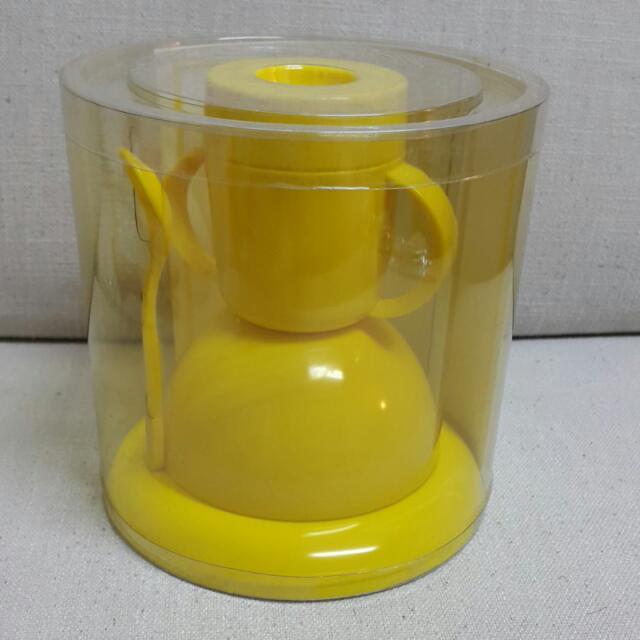 黃色美耐皿兒童早餐餐具
