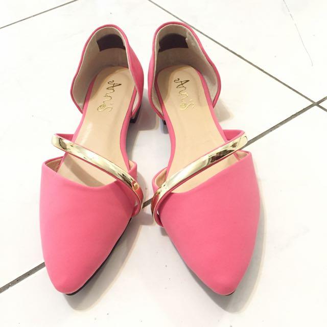 全新 桃紅 平底鞋