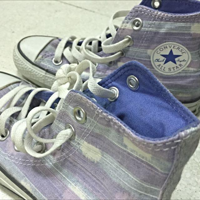 Converse藍紫條紋+白點點配色高筒帆布鞋