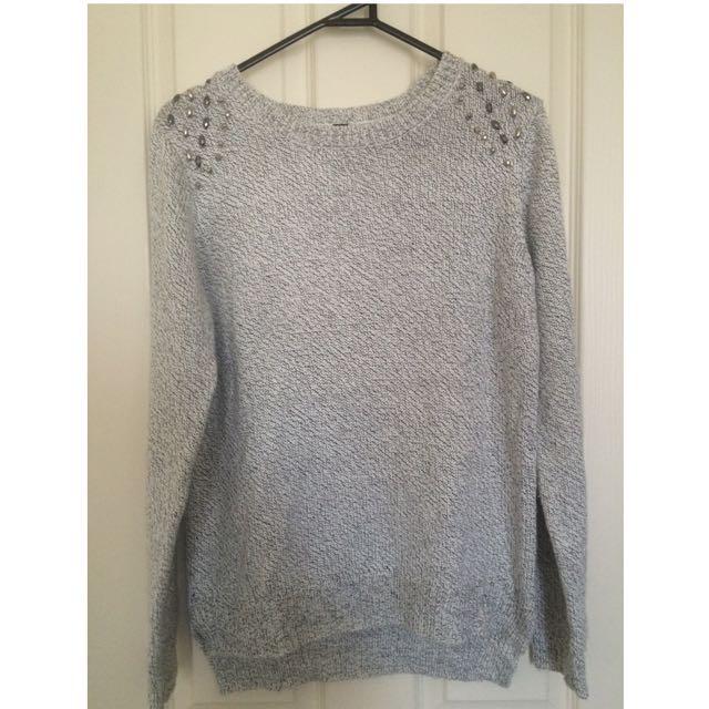 Grey Knit Detailed Jumper