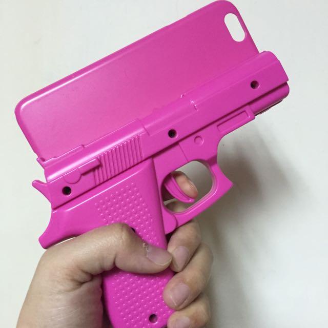 Iphone6桃紅手槍手機殼