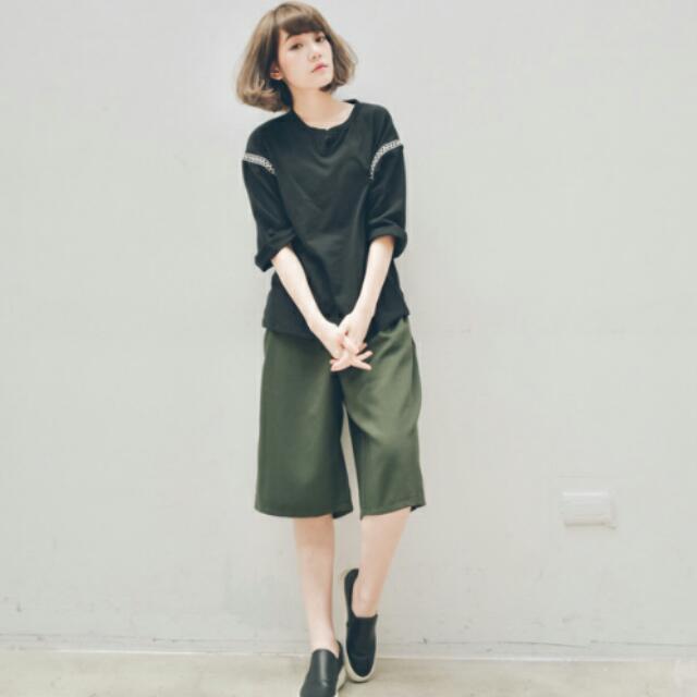 (全新)打折不對稱剪裁寬褲,墨綠色M號