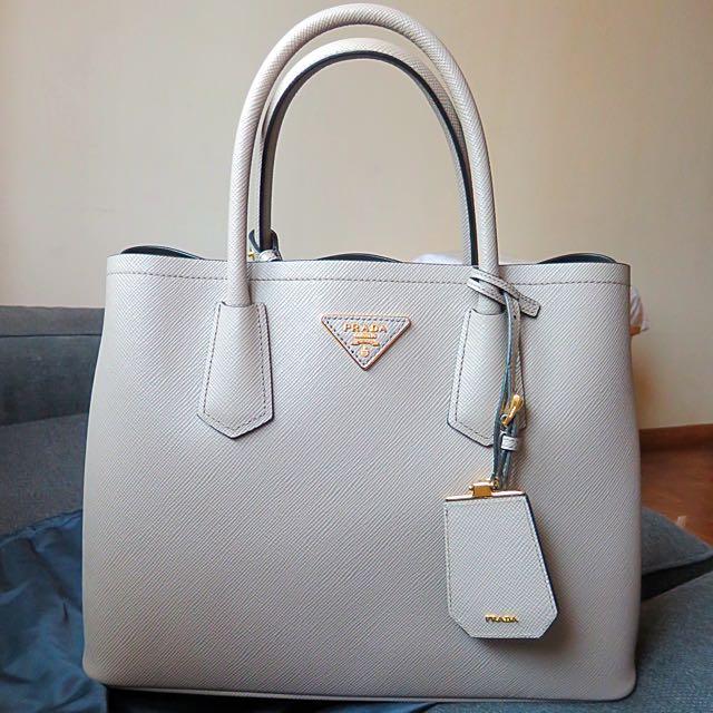 21743191aeefc1 Prada Saffiano Cuir Double Bag (in Argilla), Luxury on Carousell