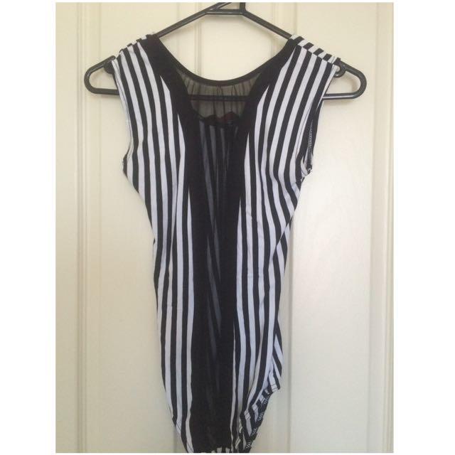 Sheer Panel Stripe Bodysuit