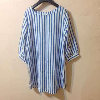 藍色直條紋洋裝(上衣)