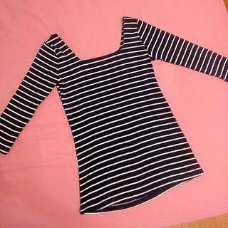 ◆ 降 ↓ 條紋七分袖彈性上衣