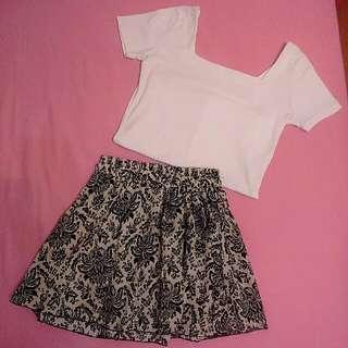 ◆ 花裙&白色短T
