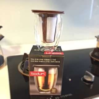 Tea For One Tea Cup Infuser With Double Wall Glass By Bodum (reserved)