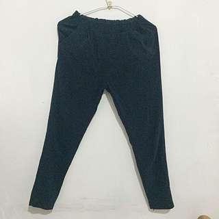 深藍色鬆緊哈倫褲 老爺褲休閒褲