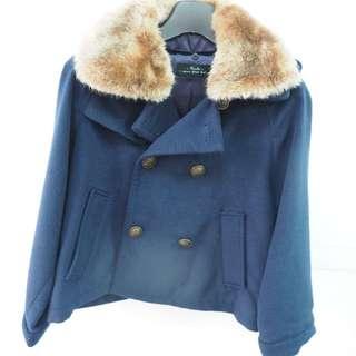二手 卡信kashin 自創 羊毛40%P Coat短版海軍藍毛毛領外套