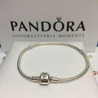 「保留」潘朵拉。純銀手鍊 21cm(全新)蛇鏈  軟鍊 Pandora 串珠