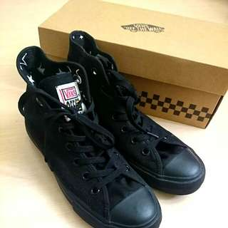 Vans黑色高統 內增高帆布鞋#23.5