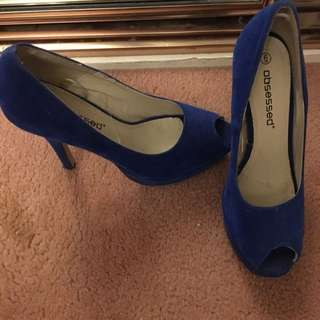 Blue Peep Toe Heels