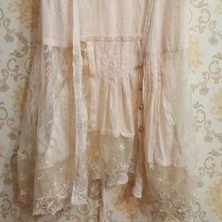 淡芋粉紫  日系 蕾絲拼接 綁帶 罩衫 背心