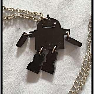 Plastic Robot Silver Chain Necklace