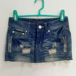 Leak Jeans Since1979復古刷色破壞刷破鬚鬚牛仔短裙側拉鍊設計🎀grace gift D+af Tiffany Dior Channel A&F Air space Forever21 3ce Lv Ck