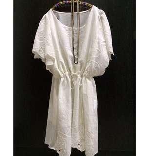白色蕾絲繡花洋裝(氣質款)