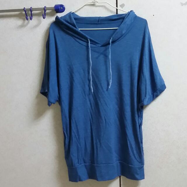 藍色短袖連帽上衣7成新