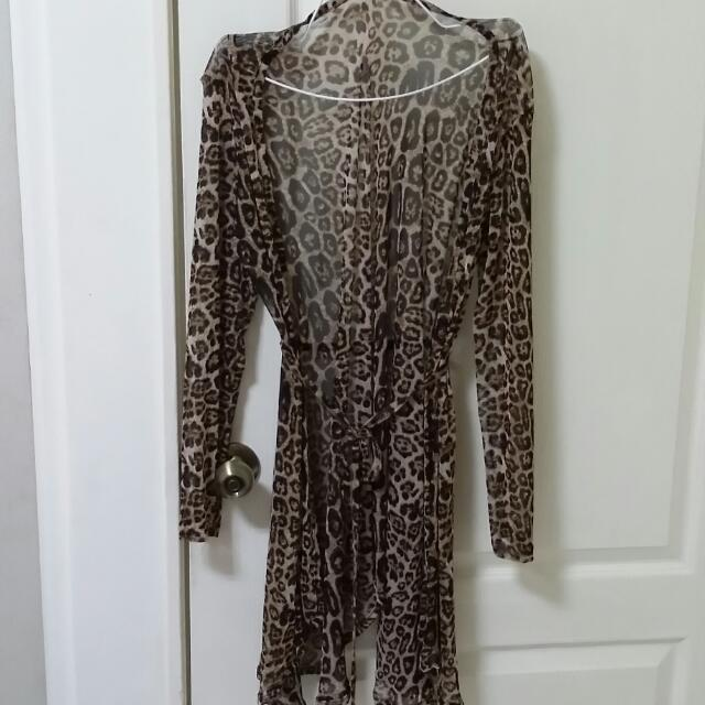 豹紋薄紗長外套9成新