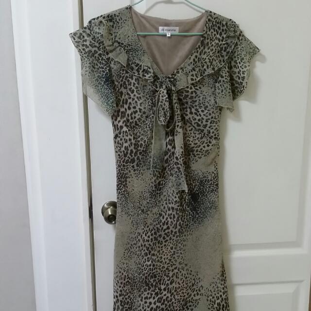 貴婦顯瘦豹紋洋裝全新