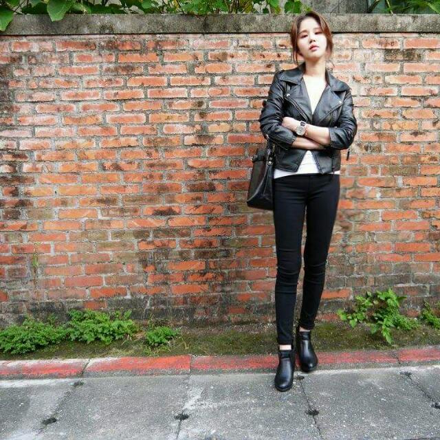 韓國短版修身款機車皮衣