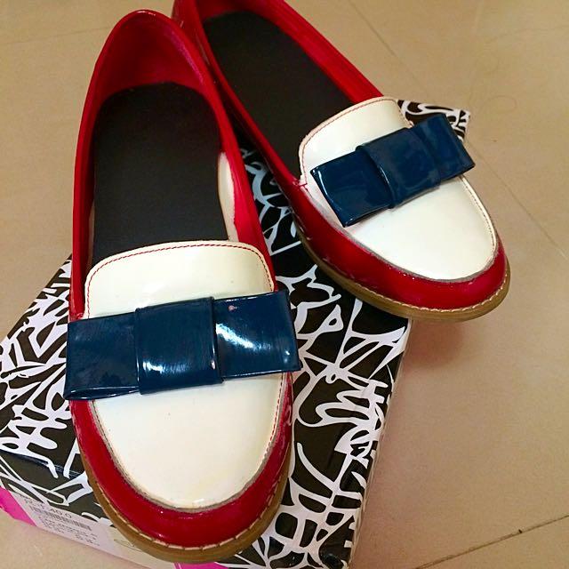 Miss 21紅低跟樂福鞋❤️