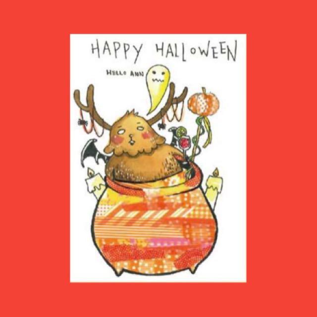 萬聖節🎃吸血胖小鹿✨明信片