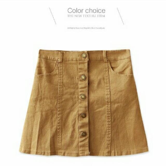 保留▶排扣口袋斜紋短裙