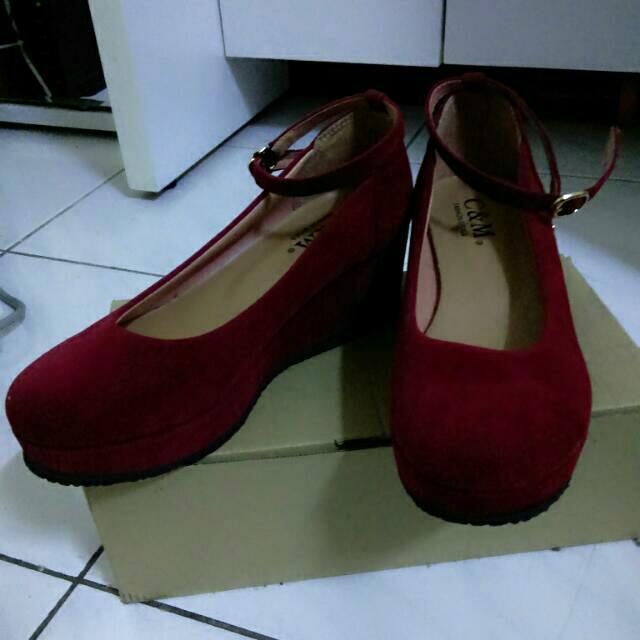 (二手)繫帶酒紅色厚底鞋