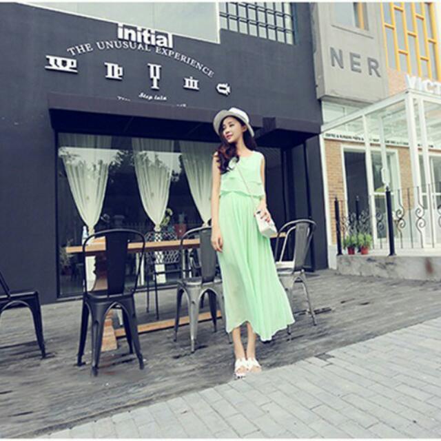 長洋裝,韓風,波西米亞風,雪紡,無袖長裙,連身裙,淺綠