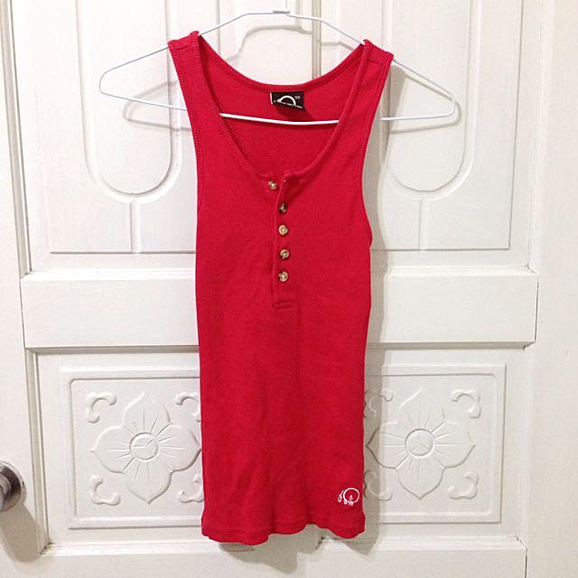 紅色 針織 無袖 挖肩 合身 背心 上衣
