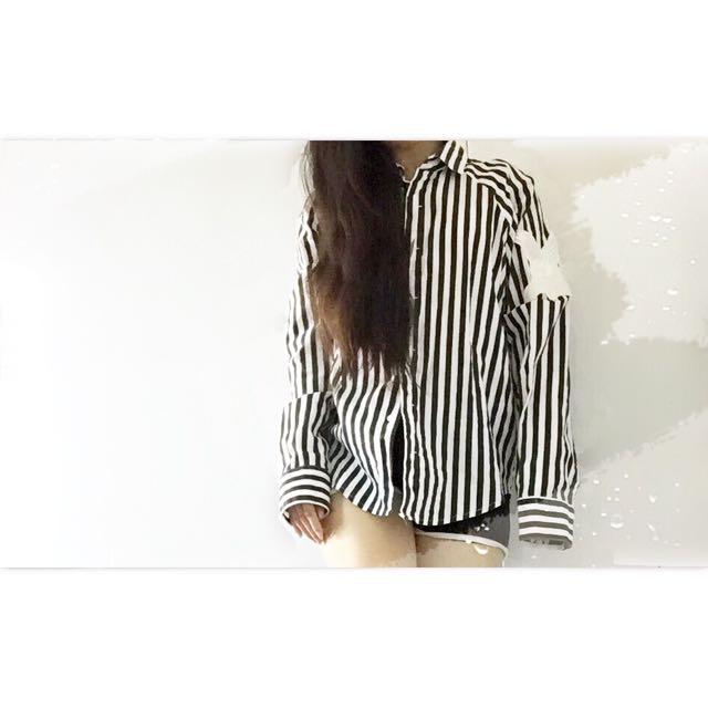 長板 黑白直條紋 襯衫 上衣