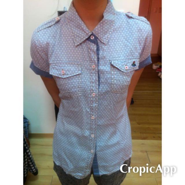 藍底白點 短袖襯衫 水玉點點 淺藍 水藍