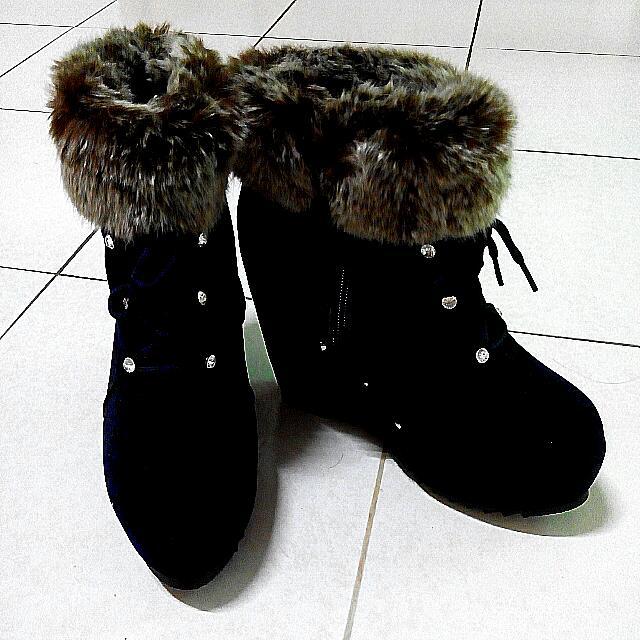 短毛 短靴 踝靴 楔形 平底 24.5cm 全新