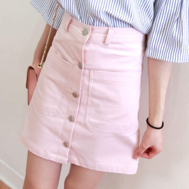 徵 復古粉色排釦A裙