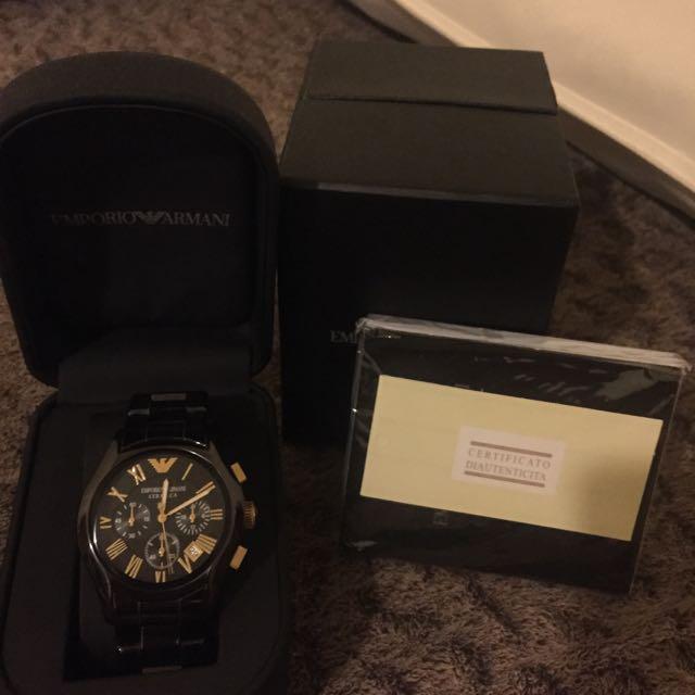 (保留中)阿曼尼錶 Armani 黑金陶瓷 便宜賣