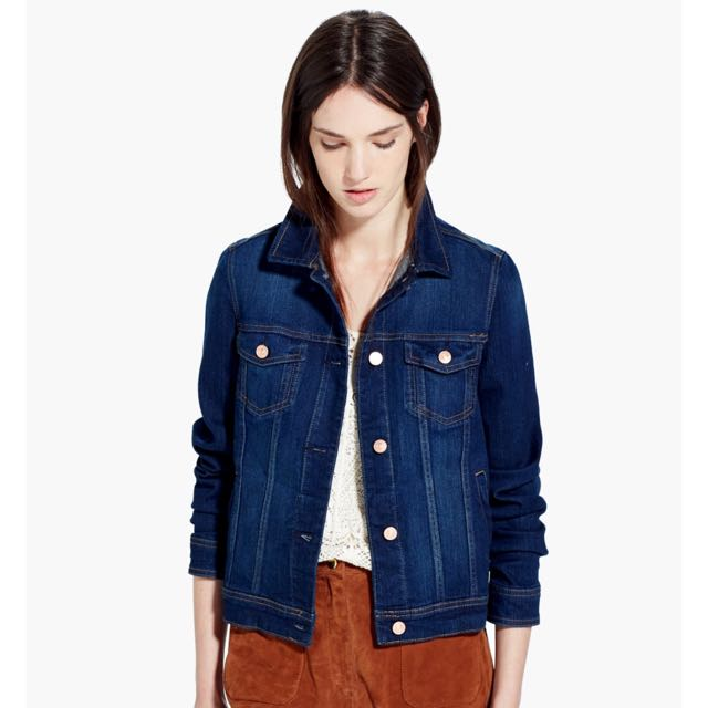 8587756352 Mango Denim   Tees Cropped Fitted Jacket In Dark Blue