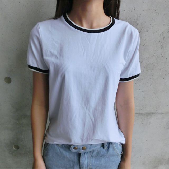 圓領滾邊白T恤
