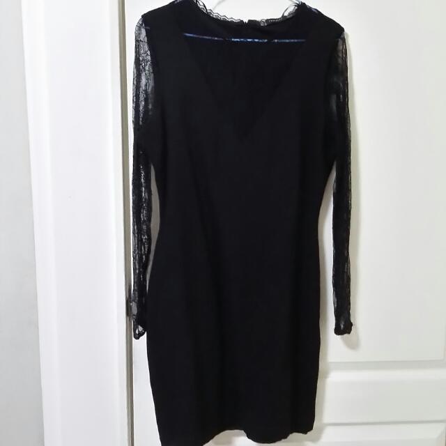 ZARA蕾絲長袖厚連身洋裝95成新