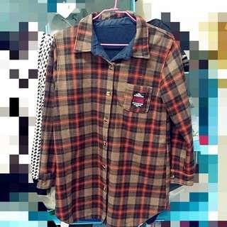 材質佳💕韓版格紋加厚襯衫
