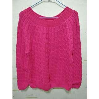 桃紅針織毛衣