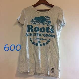 roots 女版T xs 灰色底 九成新