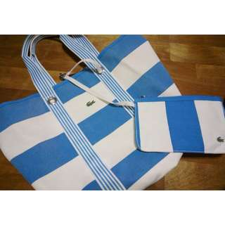 Lacoste 大托特包 藍白條紋