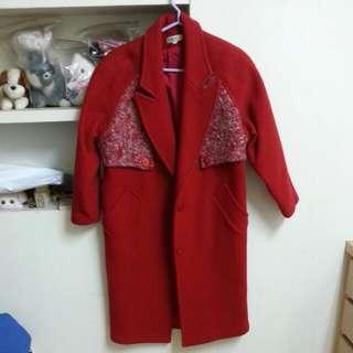 AMIK 紅色厚毛料長大衣