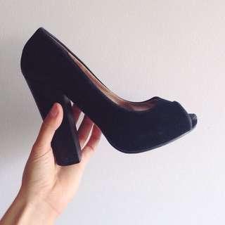 Black Suede Peep Toe Heel ➖ Novo Shoes