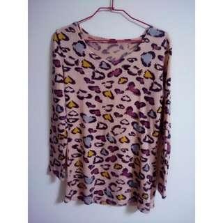🐯可愛粉紅小豹紋長針織🐯