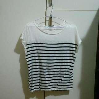 Pull&Bear藍白條紋短袖T