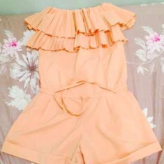 蛋糕蓬蓬粉橘色平口連身褲